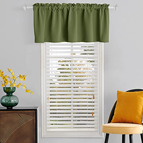 TOAVA DECO Olive Green Small Window Valance 18 Inch Length Rod Pocket Thermal Insulated Short Blackout Curtain Valances for Living Room Bedroom Kitchen Bathroom Basement Windows 52 x 18 Inch 1 Panel
