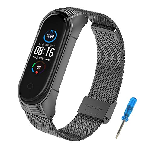 MIJOBS Metal Strap for Xiaomi Mi Band 5,Smart Watch Bands for Mi Band 4 Waterproof Stainless Steel Bracelets Stylish Business Replacement Bracelet Compatible with Xiaomi Mi Band 3/4/5