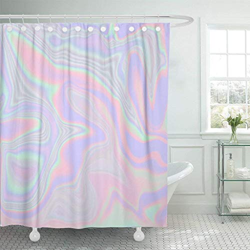 Funny Bag Shower Curtain Holographic Abstract in Pastel Neon Color for Your Modern Waterproof Polyester Fabric