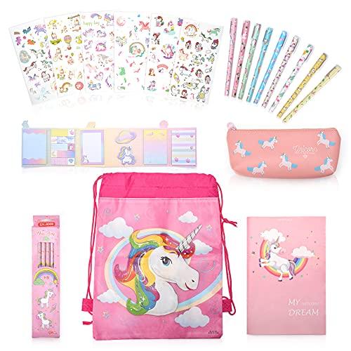 Niedliches Einhorn Geschenk Set für Mädchen&Junge mit 12 Einhorn Bleistiften und 1 Federmäppchen, Schönes Cartoon-Notizbuch,Ästhetisch Aufklebern und Süße Haftnotizen(Pink)