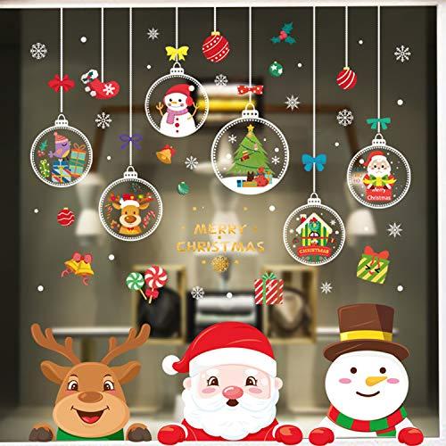 Viilich - Pegatinas de ventana de Navidad, 15 hojas de adhesivos de Papá Noel, Rudolph y copos de nieve, de PVC, pegatinas para la decoración de ventanas de Navidad