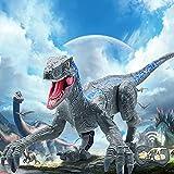 Dinosaur Toys, RC Robot Jurassic World Dinosaur Toys Walking 30M/Min, Velociraptor Kids Toys w/ LED Light & Roaring Rotation Electronic Dragon Toys, Dinosaur Toys for Kids 3-5 6 7 8 Year Old Boy Gifts