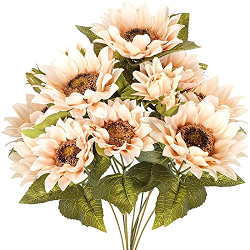 YYHMKB Artificial Sunflowers Flower Bouquet Fake Vintage Sunflower Arrangements For Decoration 9 Floral Heads Faux Flowers Bunch For Home Decor- Vintage White