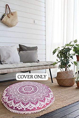 GANESHAM HANDICRAFT Décoration indienne bohémienne ronde mandala tapisserie hippie pouf ottoman, coussin de sol mandala 81 x 81 cm