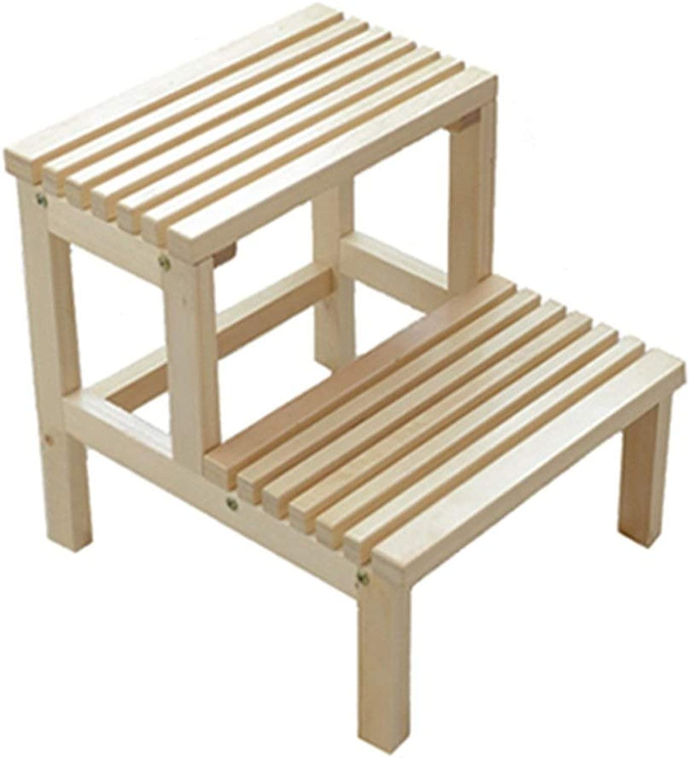 Stool Step Stool, Solid Wood Step Ladder, Multi-Function Double Step Step Ladder, Decorative Shelf