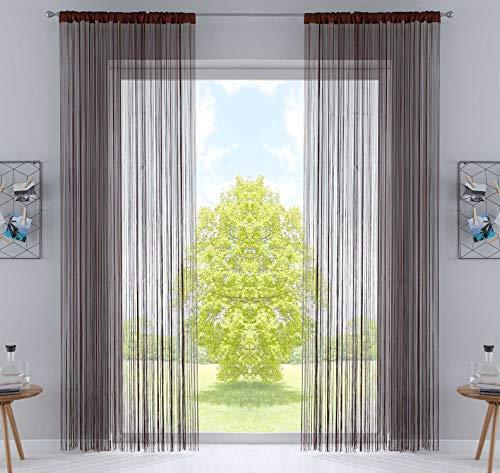 2er Set Fadengardine, HxB 250x140 cm, Braun mit Tunneldurchzug und eingenähtem Kräuselband, geeignet für Gardinenstangen und Gardinenschienen Fadenvorhänge Fadenstores Raumteiler, 20303CN2