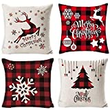 EMOCCI Christmas Throw Pillow Covers 18x18 Square Canvas Cotton Cover Cases Cushion Xmas Winter Holiday Zippered Decorations Pillowcases for Home Sofa Bed Chair Couch Car Set(4pcs)