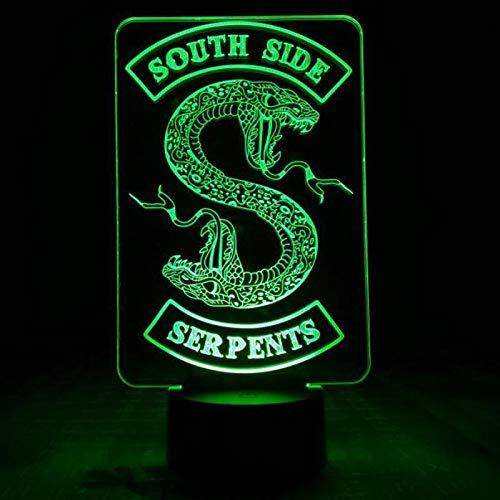 olwonow Riverdale Snake Logo Tischlampe Schlafzimmer Dekor Touch Sensor 7 Farbwechsel Riverdale Southside Serpents Nachtlicht LED Frauen