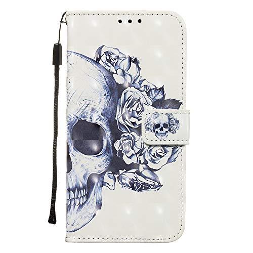 FNBK Kompatibel mit Samsung Galaxy S20 Ultra 5G Hülle, 3D Gemalt Muster Leder Flip Brieftasche Bookstyle Ledertasche Klapphülle Kartenfächer Handyhülle für Samsung Galaxy S20 Ultra 5G, Schädel