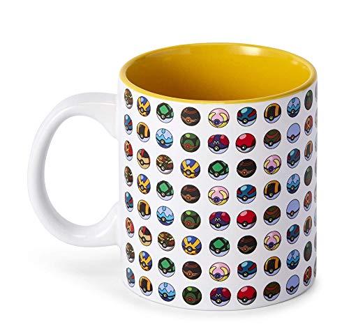Offizielle Pokemon Multi Pokeball Tasse – 295 ml Keramiktasse für heißen Kaffee, Tee, Kakao – Neuheit Trinkbehälter – perfekt für Home Office Partys – lizenziertes Nintendo Merchandise