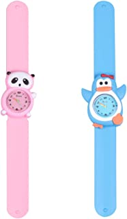 Hemobllo 2pcs Kids Snap On Watches Cartoon Panda Penguin Quartz Watches Cute Wrist Watches Birthday Gifts for Kids Children Students
