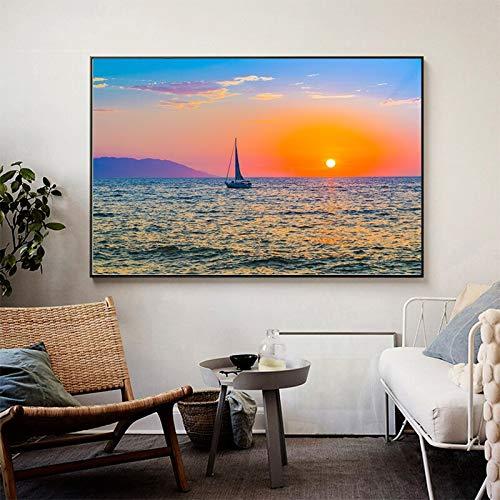 wZUN Barco Puesta de Sol Can Golden Horizon Pintura en Lienzo Arte de Pared Carteles e Impresiones salón de salón Cuadros de Pared 60x100 Sin Marco
