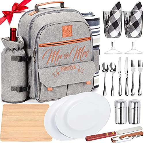 DELUXY Mr & Mrs Picnic Backpack- Wedding Gifts For Couple 2021, Cute Bridal Shower Gifts For Bride, Mr and Mrs Gifts, Couples Gifts, Engagement Gifts For Couples Newly Engaged Unique, Anniversary