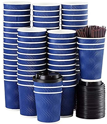 Disposable Coffee Cups with Lids and Straws - 4 oz (90 Set) Togo Hot Paper Coffee Cup with Lid To Go for Beverages Espresso Tea Insulated Reusable Cold Drinks Ripple Cups Protect Fingers From Heat!