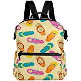 Oarencol Coloridas Flip Flops Starfish Mochila Verano Sandy Beach School Book Bag Viaje Senderismo Camping Portátil Daypack