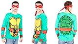 Teenage Mutant Ninja Turtles Long Sleeve Raphael Costume Adult Green T-Shirt & Eye Mask (Adult X-Small)