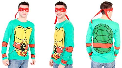 Teenage Mutant Ninja Turtles Long Sleeve Costume Toddler Green T-Shirt & Eye Mask (Toddler 5/6T, Green Raphael)