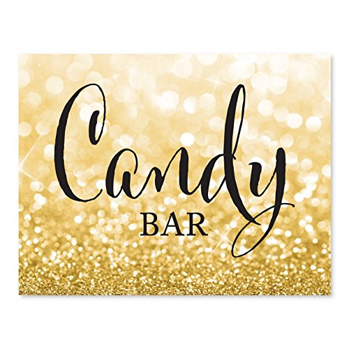 Andaz Press Wedding Party Signs, Glitzy Gold Glitter, 8.5x11-inch, Candy Bar Reception Dessert Table Sign, 1-Pack