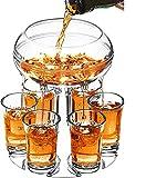 SZSMD 6 vasos de chupito y soporte, dispensador de cócteles, vasos de chupito y soporte para bar, dispensador de licor, con 6 vasos para cócteles, juegos de bebida, regalos (transparente)