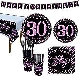 Amycute Forniture per Feste di 30 Anni Compleanno, 30 Compleanno Tovaglioli, Banner, Piatti, Bicchieri, Coltelli, Forchette, Cucchiai, 30 Compleanno Decorazione(Nero Rosa)