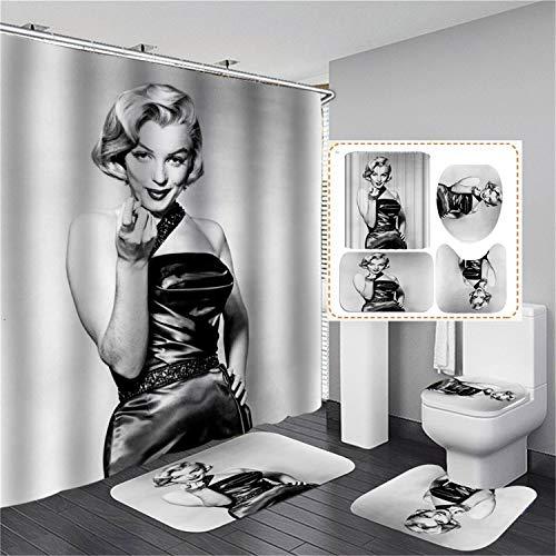 xingy&eshoop Duschvorhang-Marilyn Monroe Verdicktes Wasserdichtes Und Schimmelresistentes Badezimmer, Vierteiliges Badezimmer Aus Hotel-Polyestergewebe 120X180Cm