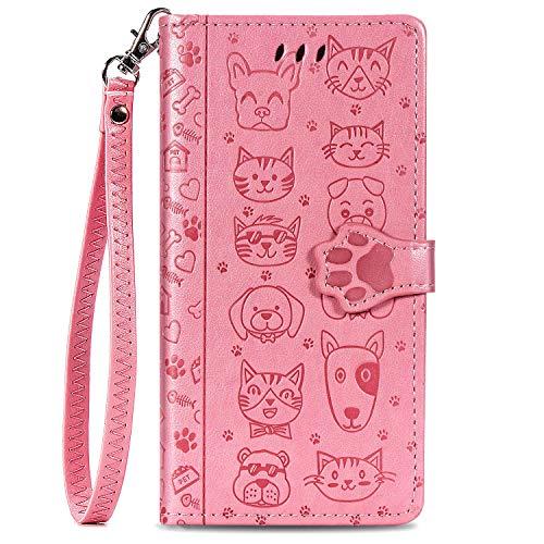 Unichthy Schutzhülle für Samsung Galaxy S30 mit Katzen- und Hundemotiv, PU-Leder, Magnetverschluss, Standfunktion, Kartenhalter mit Handschlaufe, Rosa