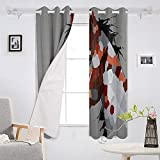 Blackout Curtains set of 2 panels 52x72 inch Piebald Pony Graffiti Thermal Insulated Window Curtains
