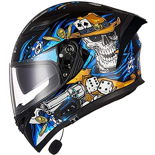 CHICTI Casco De Moto Modular Bluetooth Integrado Aprobado por ECE Ligero para Motocicleta Doble Visera Integrales para Hombre Y Mujer (Color : B, Size : L)