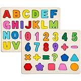 Jigsaw de Madera Pegged Puzzle Board Números de Colores Letras del Alfabeto Puzzle Kids Jigsaw Juguetes educativos 2 Pack