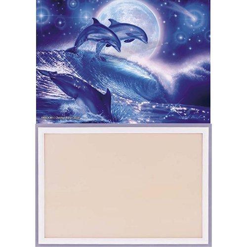108ピース 光るジグソーパズル ラッセン フリーダム (18.2x25.7cm) フレームセット+木製パズルフレーム ウッディーパネルエクセレント シャインホワイト (18.2x25.7cm)