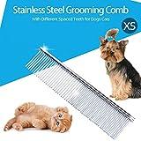 Weehey Edelstahl-Fellpflegekämme Hundekamm Fellpflege-Fellkamm mit verschiedenen Abstandszähnen für Hunde und