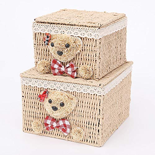 Willow Rattan Woven Storage Basket Set of 2, Cartoon Bear Storage Box with Lid, Dustproof Organizer for Clothes, Toys, Snack, Cosmetics (Wood Color)