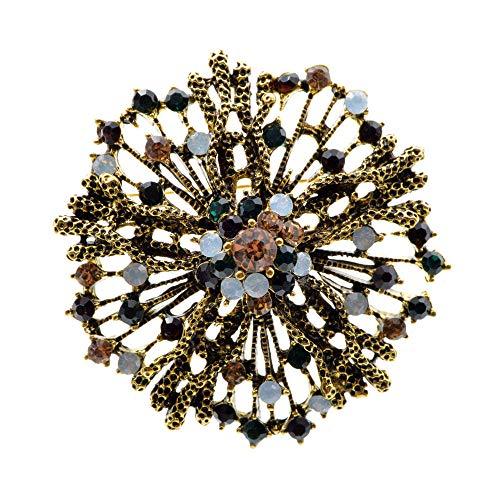 GLKHM Amber Brooch Vintage Flower Brooches Women Pin Accessories-1_5.5 * 5.5Cm
