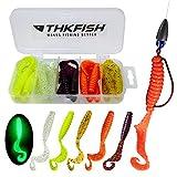 THKFISH 20 Piezas/Caja Cebos Artificiales de Pesca Silicona Suave Biomimética Cebo Lombriz Señuelos de Vinilos para Pesca Gusanos