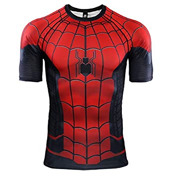 Spider-Man Far from Home Short Sleeve Men s Compression Shirt 3D Print T-Shirt  XX-Large Red
