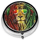 Pastillero, Rasta Lion Pastillero de metal, organizador de pastillas redondo de tres compartimentos, almacenamiento para bolsillo, viajes