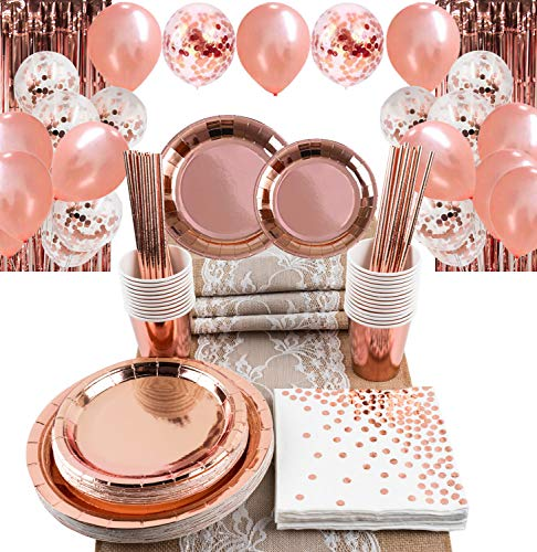 Rose Gold Party Decorations Set for Women Girls, Burlap Lace Table Runner, Foil Fringe Metallic Curtains Backdrop, Rose Gold Balloons & Confetti Balloons, Plates, Cups, Straws, Tissues for 25 Guests