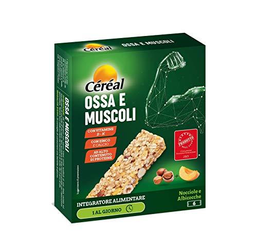 Céréal Integratore Ossa & Muscoli, Barrette Integratori Alimentari, Con Nocciole E Albicocche, 186 G