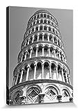 1art1 Pisa - Der Schiefe Turm S/W Bilder Leinwand-Bild Auf