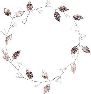 Amosfun, fascia per capelli da sposa, accessorio per capelli con foglie e perle in oro rosa
