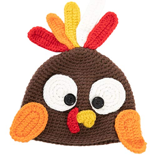 JOYIN Thanksgiving Christmas Turkey Beanie Hat Cap Cute Cartoon Animal Beanie with Ear Flap Photograph Props for Baby Toddlers Brown, Dress Up Party, Role Play, Hat Photo Prop and Carnival Cosplay