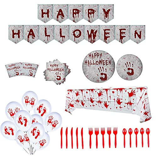 GODPAJ - Platos de papel desechables, juego de vajilla de fiesta de Halloween y cubiertos de Thriller, vasos de papel, globos, manteles, platos, 132 piezas para 16 personas