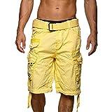 Geographical Norway PANORAMIQUE MEN - Bermudas Short Algodón Fit - Pantalones Cortos Deportivos Para Hombres - Bermudas Hombre - Shorts Cortos Cinturón - Bermuda Ajuste Normal Cómodo AMARILLO M