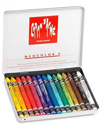 Caran d'Ache Neocolor II - lápices de Watercolor,set 15 pcs Juego de ceras de color multicolor