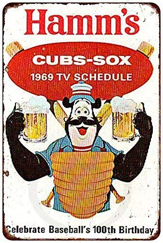 Joeaney New Tin Sign Aluminum Retro 1969 Cubs White Sox Hamm's Beer Vintage Metal Sign 8 X 12 Inch