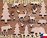 wooden animals to paint - 17-Pack Birch Plywood Forest Creatures Bear, Deer, Squirrel, Rabbit, Pine Trees, Laser Unfinished Wood Cutout Crafts Shapes Ready to Paint