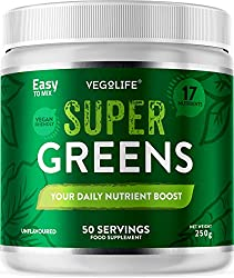 ✔ YOUR DAILY NUTRIENT BOOST - Each scoop of Vegolife's Super Greens Powder contains a premium blend of 17 different specially selected greens powders including Pea Protein, Spirulina, Wheat Grass, Spinach, Ginger, Kale, Alfalfa, Carrot, Broccoli plus...