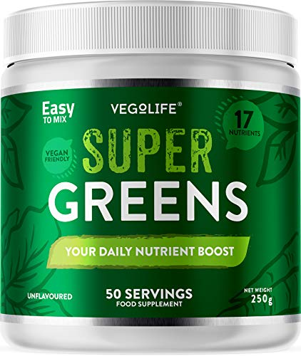 Super Greens Powder - 250g Tub - 50 Servings - 17 Different Nutrients - Zero Artificial Ingredients or Maltodextrin - Natural Formula - UK Made - Amazing Value - Your Daily Nutrient Boost