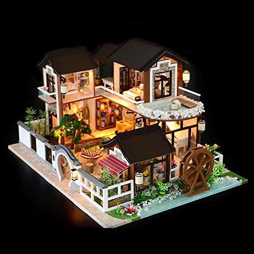Wood.L Casa delle Bambole in Miniatura, DIY Miniatura Casa delle Bambole in Legno Fai da Te Kit, DIY Dollhouse Ancient Architecture, casetta delle Fiabe, casa Decorativa, Regalo di Natale