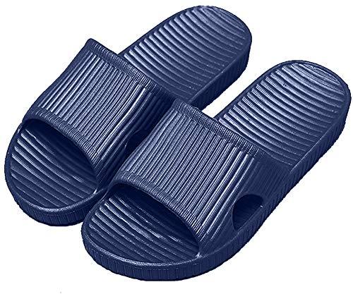 APIKA Frauen Und Männer Anti-Rutsch-Hausschuhe Innengebrauch Im Freien Bad Sandale Soft Foam Sole Pool Schuhe Haus Heim Rutsche(Navy blau,40/41 EU)
